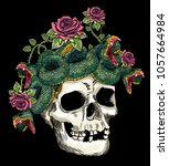 skull and snake in the roses... | Shutterstock .eps vector #1057664984