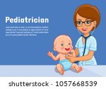 pediatrician and child baby... | Shutterstock .eps vector #1057668539