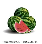 slices of watermelon with three ... | Shutterstock .eps vector #105768011