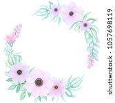 vector floral wreath with pink... | Shutterstock .eps vector #1057698119