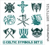 set of celtic symbols icons... | Shutterstock .eps vector #1057717121