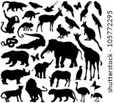 zoo animals collection   vector ... | Shutterstock .eps vector #105772295