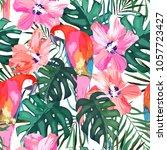 tropical seamless pattern. palm ... | Shutterstock .eps vector #1057723427