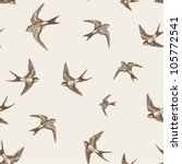 Stock vector vintage pattern with little swallows 105772541