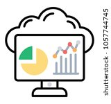 line icon data analysis  data... | Shutterstock .eps vector #1057744745