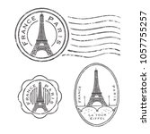 eiffel tower stamp set | Shutterstock .eps vector #1057755257