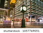 Stock photo historic city clock at the intersection of main street and texas street at night downtown houston 1057769051