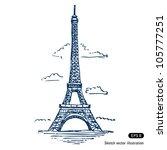 eiffel tower in paris. hand...   Shutterstock .eps vector #105777251