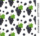 vector black currant seamless...   Shutterstock .eps vector #1057775285