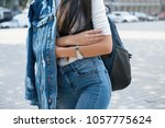 fashionable young woman in... | Shutterstock . vector #1057775624