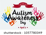 world autism awareness day card ... | Shutterstock .eps vector #1057780349