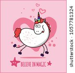 unicorn cute illustration with...   Shutterstock .eps vector #1057781324