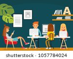 co working interior with people | Shutterstock .eps vector #1057784024
