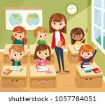 classroom with pupils | Shutterstock .eps vector #1057784051
