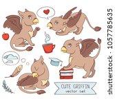 cute griffin vector set of...   Shutterstock .eps vector #1057785635