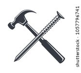 vintage hammer and nail icon ... | Shutterstock .eps vector #1057796741