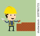 brick building  vector... | Shutterstock .eps vector #1057801721