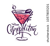 cosmopolitan cocktail drink... | Shutterstock .eps vector #1057805201
