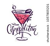 cosmopolitan cocktail drink... | Shutterstock .eps vector #1057805201