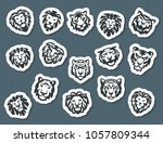 tiger and lions face logo badge ... | Shutterstock .eps vector #1057809344