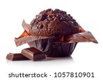 chocolate muffin in brown paper ...
