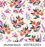 seamless floral pattern with... | Shutterstock .eps vector #1057812521