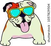 bulldog in summer | Shutterstock .eps vector #1057829504