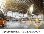 large passenger aircraft on... | Shutterstock . vector #1057830974