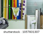 paper rolls are arranged on top ...   Shutterstock . vector #1057831307