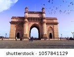 birds fly over gateway of india ... | Shutterstock . vector #1057841129