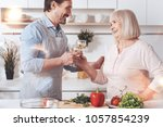 happiness in the air. positive...   Shutterstock . vector #1057854239