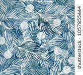 leaf pattern blue color design... | Shutterstock .eps vector #1057855664
