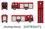 fire truck vector mock up.... | Shutterstock .eps vector #1057856471