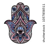 colored illustration of hamsa... | Shutterstock .eps vector #1057858511