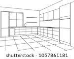 kitchen corner sketch modern... | Shutterstock .eps vector #1057861181