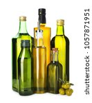 bottles with oil and olives on...   Shutterstock . vector #1057871951