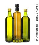 bottles with oil and olives on...   Shutterstock . vector #1057871957