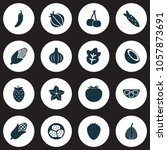 vegetable icons set with palm...   Shutterstock . vector #1057873691