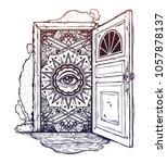 open door into a realm of mind... | Shutterstock .eps vector #1057878137