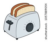 vector set of bread and toaster | Shutterstock .eps vector #1057889054
