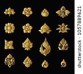 set of gold elements of... | Shutterstock .eps vector #1057889621