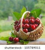 Fresh Cherries In A Wicker...