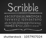 hand drawn chalk letters... | Shutterstock .eps vector #1057907024