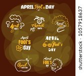 april fools day. set of funny...   Shutterstock .eps vector #1057918637