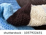 multi colored knitted woolen... | Shutterstock . vector #1057922651