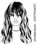 beautiful woman with long bangs | Shutterstock .eps vector #1057924697