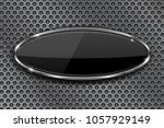 black oval button with chrome... | Shutterstock .eps vector #1057929149