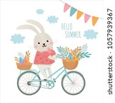 illustration with spring... | Shutterstock .eps vector #1057939367