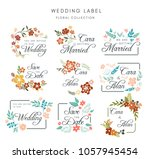 wedding badge floral collection.... | Shutterstock .eps vector #1057945454