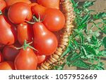closeup of basket with fresh... | Shutterstock . vector #1057952669